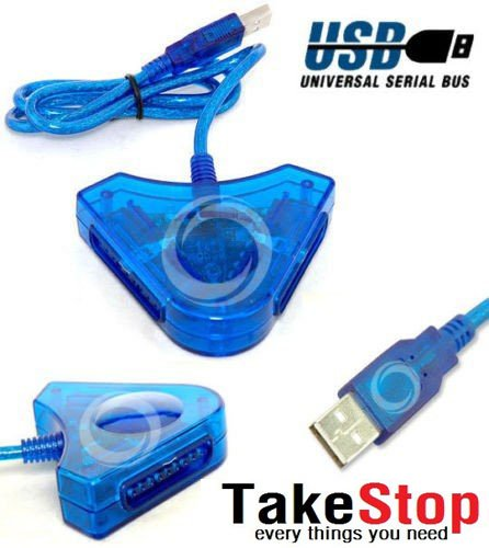 takestop ADATTATORE CONVERTITORE JOYSTICK PS2 PLAYSTATION CONTROLLER JOYPAD PER PC USB