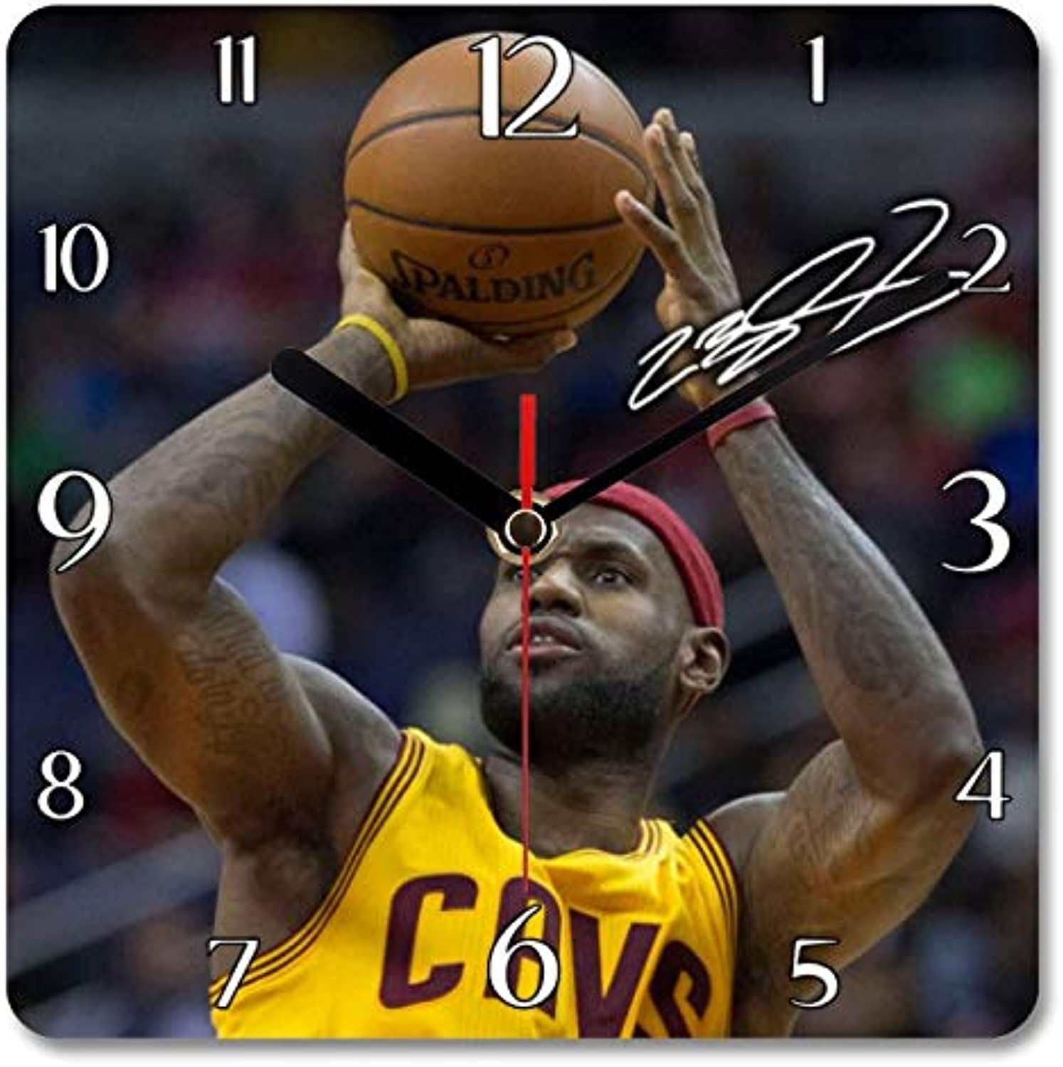 Lebron James  Cleveland Cavaliers  NBA 1 Personalised Gift Square Wall Clock Autograph Print (19 x 19cm) (No Personalised Message)