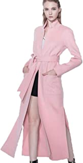Coat Ladies Double-Faced Fleece Coat Hand-Stitched Double-Faced Woolen Coat Autumn and Winter Warm lace-up Jacket Street Hipsters (Color : Pink, Size : S)