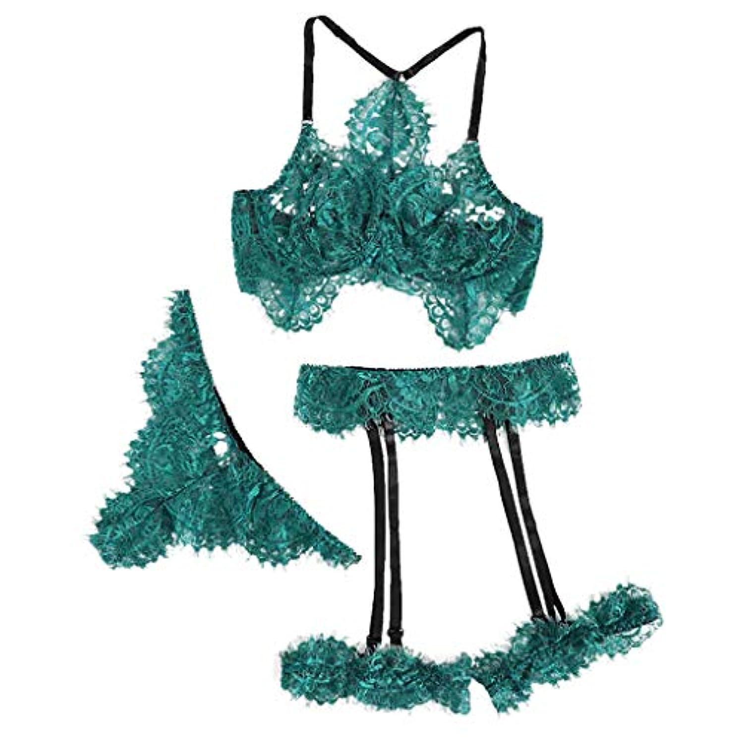ZoePets Three-Piece Eyelash Lace Set Sexy Underwear Exquisite Lingerie Bra+Garter+Briefs Babydoll Cut-Out Sleepwear