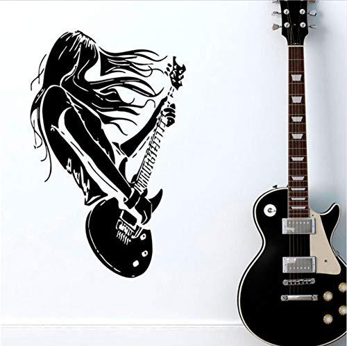 Olivialulu Rock Star Guitarra Música Tatuajes de Pared Decoración de la Sala de Vinilo Arte Pegatinas Interior Casa Decoración de Pared Autoadhesiva Calcomanía Yy14 57 * 90 CM