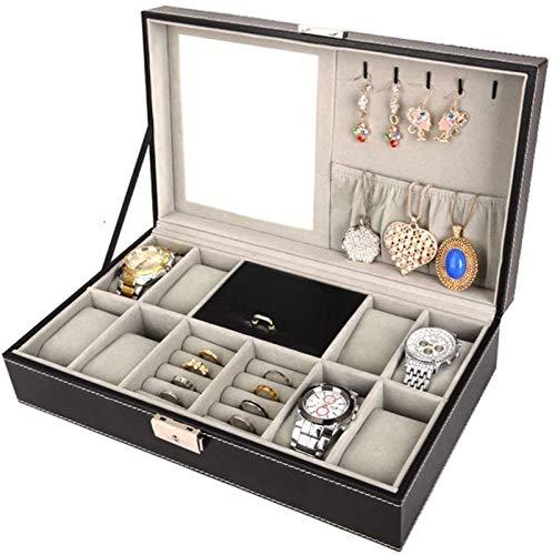 ZHANG Cajas de Reloj Caja de Reloj de Cuero Caja de Almacenamiento de Exhibición de Joyas con Almohadillas de Almacenamiento de Extracción Superior de Vidrio para La Tienda en Casa