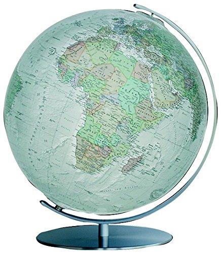 Columbus DUO ALBA Leuchtglobus: Tischmodell, OID-Code, handkaschiertes Kartenbild auf Acrylglaskugel, Kugeldurchmesser 40 cm, Meridian und Fuß aus Edelstahl, matt gebürstet
