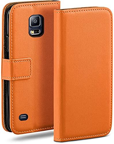 moex Klapphülle kompatibel mit Samsung Galaxy S5 / S5 Neo Hülle klappbar, Handyhülle mit Kartenfach, 360 Grad Flip Hülle, Vegan Leder Handytasche, Orange