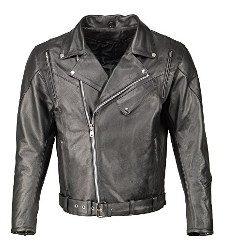 M Boss Motorcycle Apparel BOS11505 Mens Black Armored Vented Leather Jacket with Side Set Belt - X-Large
