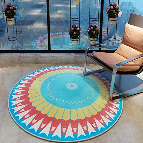 KTDT geweven slijtvaste anti-slip grote tapijt;Ronde vloerbedekking/slaapkamer/computerstoel/tafel/zwenkstoelmat (kleur: A, Maat : 90CM)
