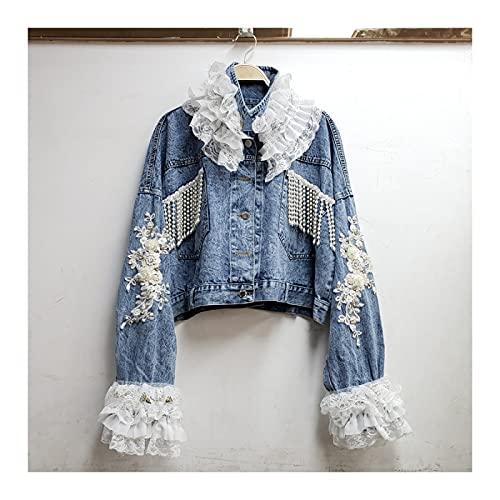 FBYDLL Chaqueta de mezclilla bordada para mujer, cuello de encaje, moda urbana, pantalones vaqueros para...