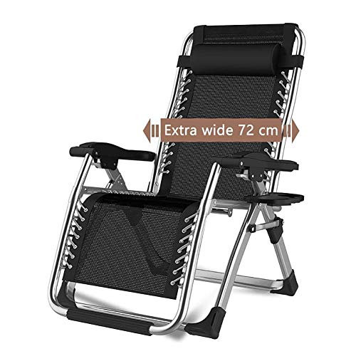 WJXBoos Sillas Plegables con Gravedad Cero Tumbona reclinable para Patio de Playa Jardín Camping Sillón portátil de Exterior para Uso doméstico Soporta 200 kg (Color: sin Cojines)