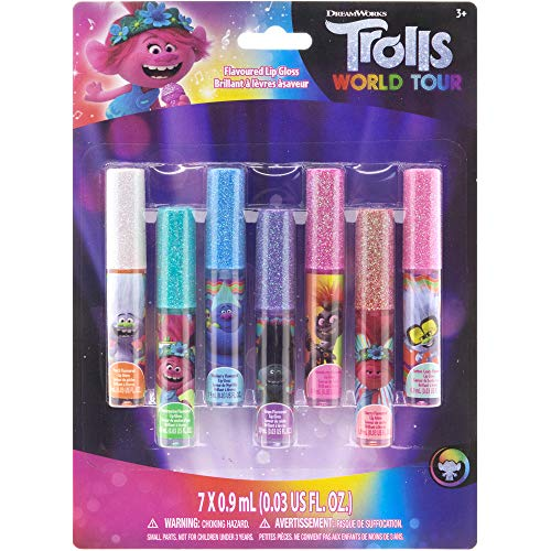 Townley Girl Trolls World Tour Super Sparkly 7 Pack Party Favor Lip Gloss, 7 CT