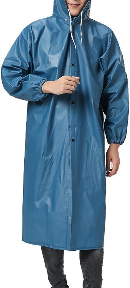 QZUnique Men's Women's Hooded PVC Soft Raincoat Outdoor Waterproof Workwear Fishing Jacket with Cuff