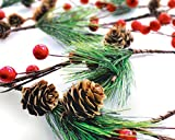 Winter Garland Christmas Decoration of Red Berries, Pine Cones & Evergreen Pine Needle – Unlit Holiday Berry Décor for Home, Kitchen, Bar & Fireplace & Decorative Outdoor Greenery 6 Ft Long Clearance