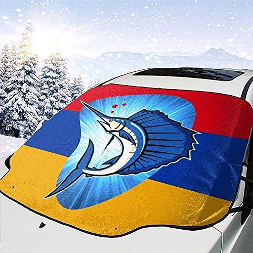 MOLLUDY Protector para Parabrisas Bandera de Armenia Pez Vela Protector para Parabrisas con imán Cubierta de Parabrisas Coche Protege de Rayos Antihielo y Nieve