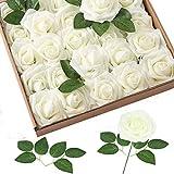 Homcomodar Flores Artificiales Crema Rosa Blanca 50 Piezas Rosas Falsas de Aspecto Real con Tallo para Bodas Ramos de Bricolaje Centros de Mesa Arreglo Fiesta Decoración del hogar