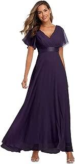 Beauty-Emily 2019 Chiffon V Neck Formal Party Dress Long Evening Dresses