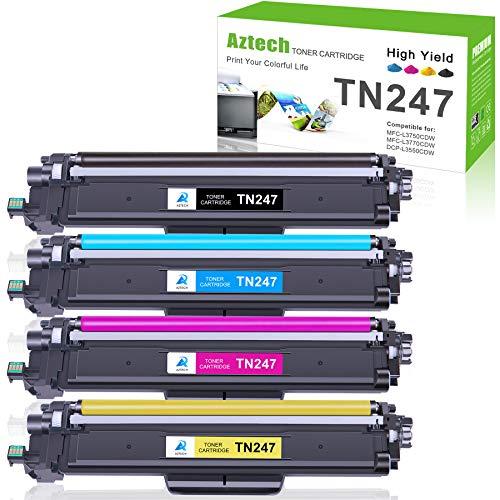 Aztech Kompatibel Tonerkartusche als Ersatz für Brother TN-243CMYK TN247 Brother MFC-L3750CDW MFC-L3770CDW MFC-L3710CW HL-L3210CW HL-L3230CDW DCP-L3550CDW Toner (Schwarz,Cyan,Gelb,Magenta, 4er-Pack)