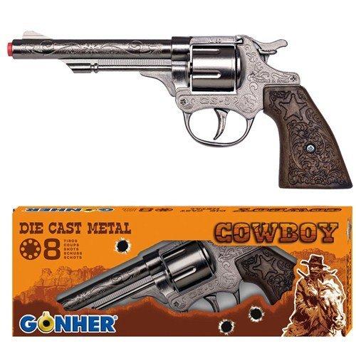 Gonher Diecast Metal 8 Ring Shot Cowboy Gun Boxed