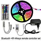 Luces de Tira llevadas, LED Tira Luces con Control Remoto 5050 Cinta Flexible SMD llevó Luces de Tira for el Dormitorio Forma fácil de (Color : Bluetooth IR44key, Size : 15M Full Set WP)
