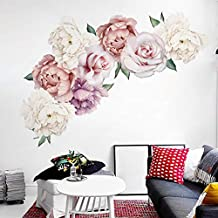 Holly LifePro Peony Flowers Wall Decals Peel and Stick Rose Wall Sticker for Home Bedroom Nursery Room Wall Decor Style-Six