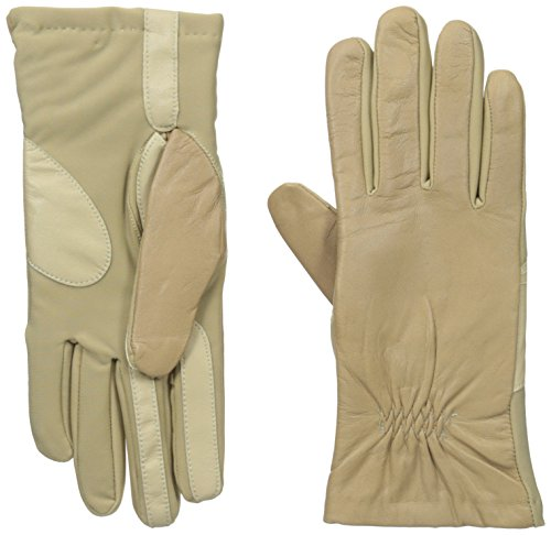 Isotoner Women's Smartouch Stretch Leather Glove with Partial Back Gather, Camel, X-Large