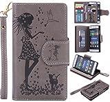 Yiizy Huawei P8 Lite Huawei ALE-L21 Funda, Chica Repujado Diseño Billetera Carcasa Estuches PU Cuero Cover Cáscara Protector Piel Ranura para Tarjetas Estilo (Gris)