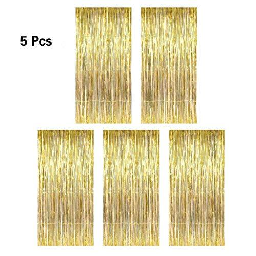 5 Pcs Folie Fringe Shimmer Vorhänge,Lametta Vorhang Glitzer Gold,Vorhang für Party Deko Hochzeit Geburtstag (Vorhänge)