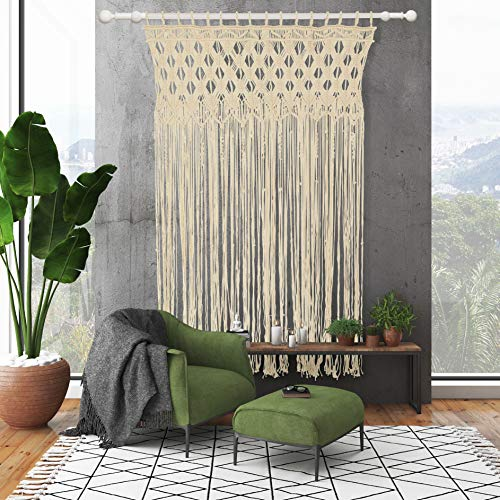"Hannava Macrame Boho Wall Decor - 35"" X 55"" Hanging Tapestry - Wedding Backdrops - Cute Bohemian House Decorations - Plant Hanger - Curtain/Room Divider - Off-White Color - Free Canvas Bag"