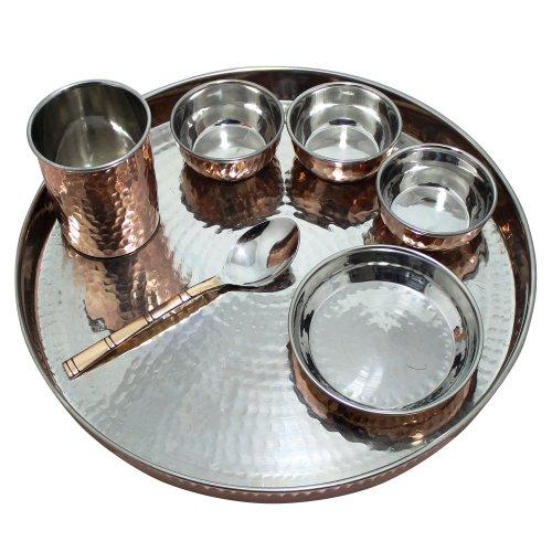 RoyaltyRoute rame acciaio inox Serveware per cucine indiane tradizionali Dinnerware Set Thali per 1