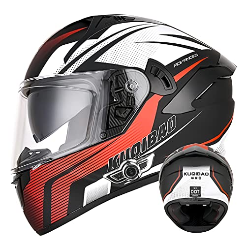 Bluetooth Integrated Motorcycle Full Face Helmet with D.O.T certified Anti-fog Double sun visor Adult Motorbike Scooter Flip Up helmets for Men Women (Red arrow) (55~57cm M)