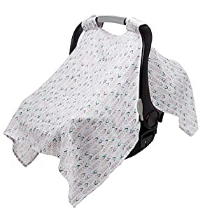crib bedding and baby bedding aden + anais essentials car seat canopy cover, 100% cotton muslin, lightweight and breathable