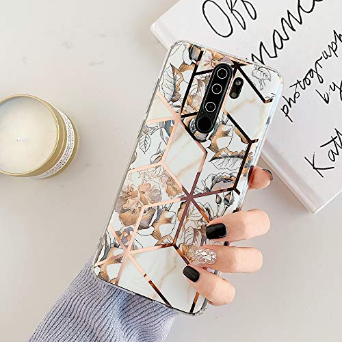 Kompatibel mit Xiaomi Redmi Note 8 Pro Hülle Marmor,Weich Silikon Handyhülle,Mädchen Frauen Glitzer Gold Bling Blätter Blumen Flexibel TPU Schutzhülle Ultra Dünn Handytasche Stoßfest Case Cover,Gold