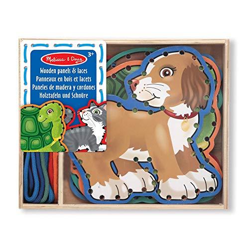 Melissa&Doug Holzschablonen und Schnüre – Haustiere | entwicklungsförderndes Spielzeug | Schnüraktivitäten | 3+ | Geschenk für Jungen oder Mädchen