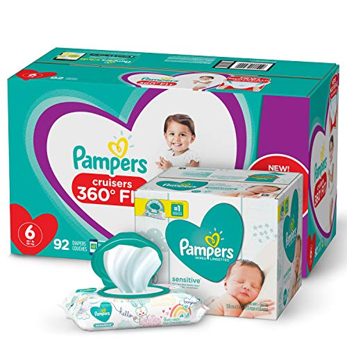 Pampers Pull On Diapers Size 6 - Cruisers 360° Fit Disposable Baby Diapers with Stretchy Waistband, 92 Count ONE MONTH SUPPLY with Baby Wipes Sensitive 6X Pop-Top Packs, 336 Count