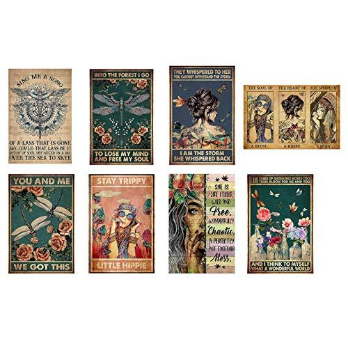 AIKY Póster Retro, Carteles de Chicas para Paredes, póster de Flores Retro, 8 Carteles sin Marco para decoración del hogar de la habitación del Bar