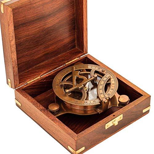Reloj de sol antiguo de brújula réplica de latón macizo c