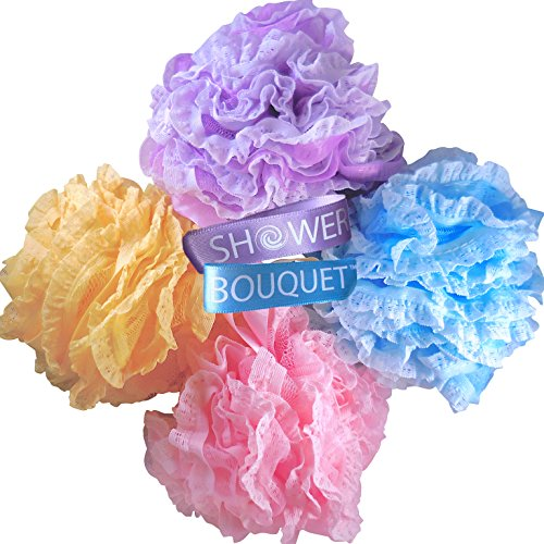 Loofah Bath Sponge LaceMesh Set  2 Scrubs in 1 by Shower Bouquet: Large Full 60g Pouf 4 Pack Pastel Colors Body Luffa Loofa Loufa Puff  Exfoliate Cleanse Skin with Luxurious Bathing Accessories