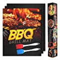KOLIFEGOODS Grill Mat Copper BBQ Grill Mat, 3PCS Baking Mat Non-Stick Reusable Cooking Sheets for Gas Grills BBQ Cooking Baking Charcoal Outdoor Grill with 2 Silicone BBQ Brushes, Black