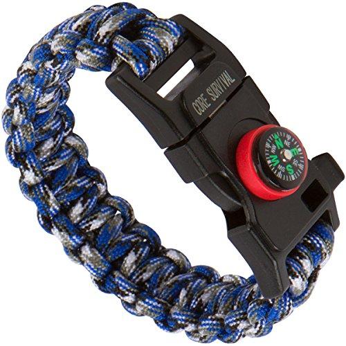 Core Survival Paracord Survival-Armband – Wandern, Multifunktionswerkzeug, Notfallpfeife, Kompass zum Wandern, Lagerfeuer, 5-in-1-Set (blaues Tarnmuster, 26,7 cm groß)