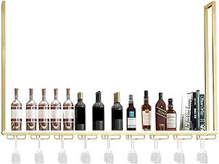 ZHTY Casier à vin Mural de Bar, casier à Verre à vin Suspendu en métal et Porte-Bouteille de vin, étagères de Rangement po...