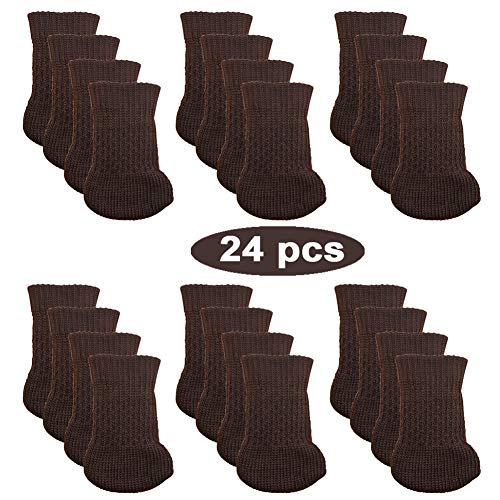 24pcs Chair Legs Socks, Knitted Furniture Leg Floor Protectors, Chair Feet Covers for Bar Stool, Dinning Chairs or Table, Protect Hardwood Floors from Scratches and Reduce Noise (Brown)