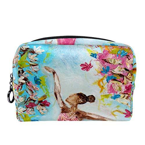 TIZORAX Schilderij Ballerina's Ballet Meisje Make-up Bag Toilettas voor Vrouwen Skincare Cosmetische Handy Pouch Rits Handtas