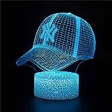 Luz nocturna 3D para niños, lámpara de ilusión 3D, gorra de béisbol G 16,...