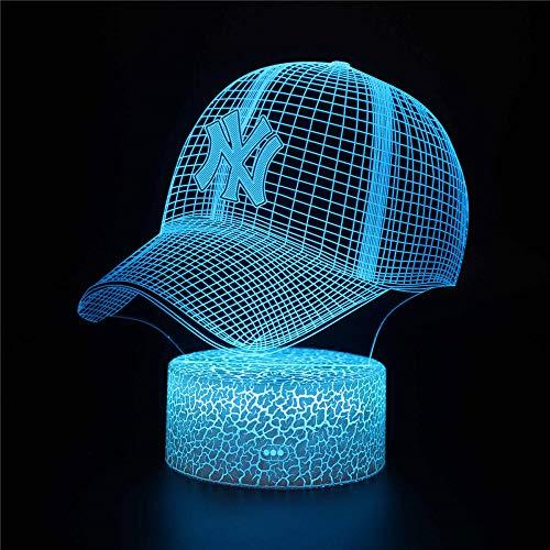 Lámpara de ilusión óptica 3D 3D luz nocturna gorra de béisbol I 16 colores regulable USB con control táctil con mando a distancia para niños y niñas