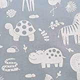 Stoff Meterware Baumwolle grau weiß Giraffe Nilpferd Löwe