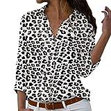 Camisas Mujer Manga Larga 2019 SHOBDW Liquidación Venta Camisetas Mujer Leopardo Blusas Mujer Tallas Grandes Cuello en V Botón Tops Mujer Regular Fit Sexy Camisas Mujer Floral S-5XL(Negro,XL)