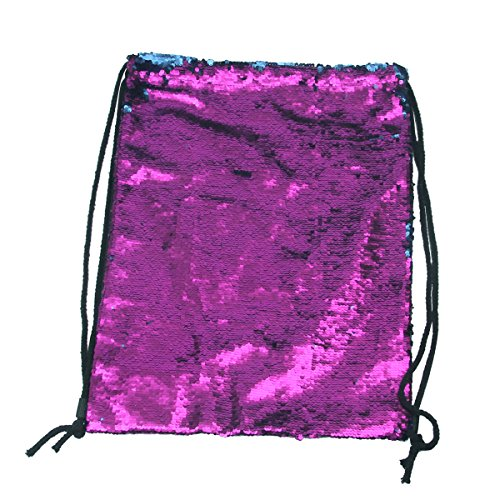 Tinksky Fashion Glitter Bag Sackpack Sequins Drawstring Backpack (Purple Blue)
