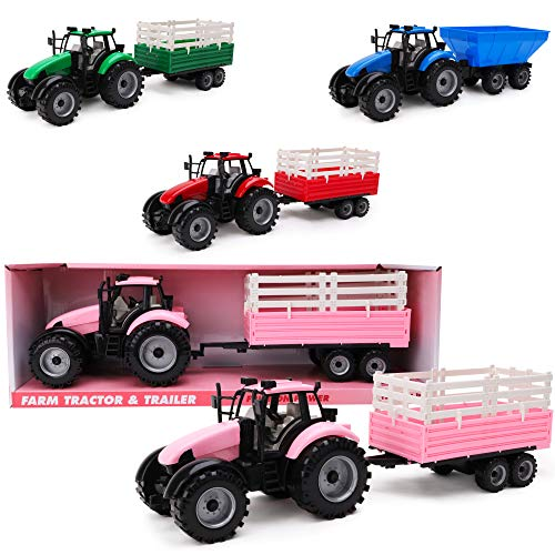 Toyland Friction Powered Farm Tractor with Trailer - Childrens Farm Toys (Pink Tractor & Trailer)