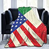 Guhire Italian American Flag Fleece Blanket Throw Blanket for Bedroom Living Rooms Sofa Couch Soft Throws for Adult Kids