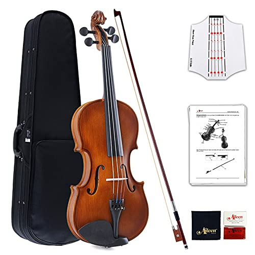 Aileen Violin 4/4 Full Size for Beginners with Fingerboard Sticker, User Manual, Hard Case, Bow, Rosin, Bridge, and Polishing Cloth