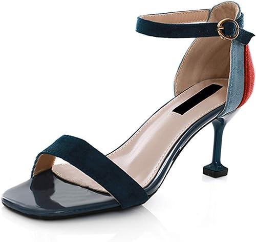 Yierkangxie Femmes Sandales été Talons Hauts Chaussures Romaines Femmes Chaussures en Cuir Chaussures de soirée de Bal d'étudiants, Hauteur du Talon 7 cm (Couleur   bleu, Taille   39)