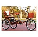 Triciclo Adulto Mayor Bicicleta de 3 Ruedas para Padres 20 '' cómodo Triciclo Plegable con Asiento Trasero y Cesta de la Compra Bicicleta de Pedal Humano Carga máxima 200 kg Ejercicio
